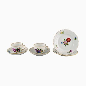 Royal Copenhagen Saxon Flower Coffee Cups with Saucers and Plates, Set of 6