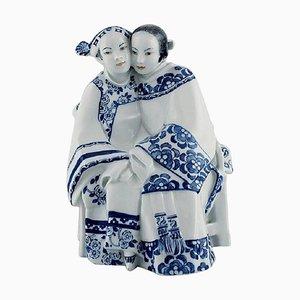 Porcelain Figurine Asian Couple by Vicken von Post-Börjesson for Rörstrand, 1930s