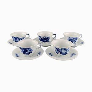Royal Copenhagen Blue Flower Angular Teacups with Saucers in Porcelain, Set of 10