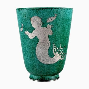 Art Deco Argenta Ceramic Vase with Mermaid by Wilhelm Kage for Gustavsberg, 1940s