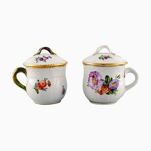 Royal Copenhagen Saxon Flower Porcelain Cream Cups with Floral Motifs, 1950s, Set of 2