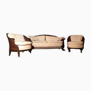 Antikes Wohnzimmerset aus Mahagoni & gepolstertem Sitz, 3er Set