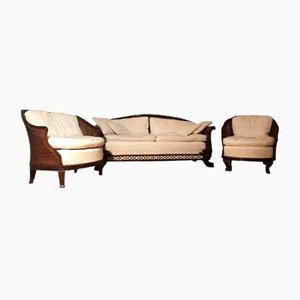 Antique Mahogany & Upholstered Living Room Set, Set of 3