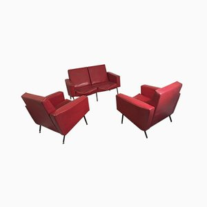 Vintage DLG G10 Sofa & Armchairs in the Style of Pierre Guariche, Set of 3
