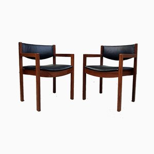 Mid-Century Teak & Leather Chairs from Gordon Russell, Set of 2