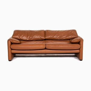 Cognac Brown Leather Maralunga 3-Seat Sofa from Cassina