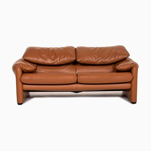 Cognac Brown Leather Maralunga Sofa from Cassina