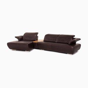 Dark Brown Leather Avanti Corner Sofa from Koinor