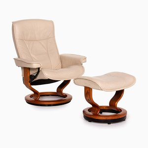 Cream Leather Armchair & Stool from Stressless, Set of 2
