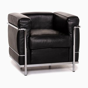 Black Leather LC2 Armchair by Le Corbusier for Cassina