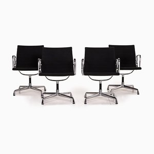 Black Fabric & Aluminium EA 108 Swivel Chairs from Vitra, Set of 4