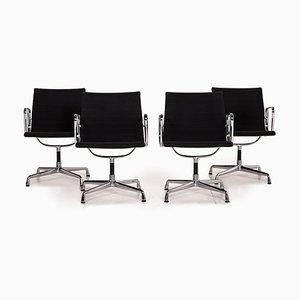 EA 108 Drehstühle mit schwarzem Bezug aus Stoff & Aluminium von Vitra, 4er Set