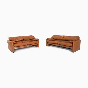 Cognac Brown Leather Maralunga 3-Seat & 2-Seat Sofa from Cassina, Set of 2