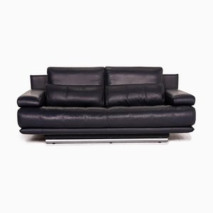 Dark Blue Leather 6500 2-Seat Sofa by Kein Designer for Rolf Benz