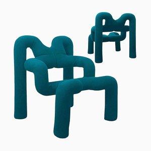 Petrol Blue Armchair by Terje Ekstrom, Norway, 1980s, Set of 2