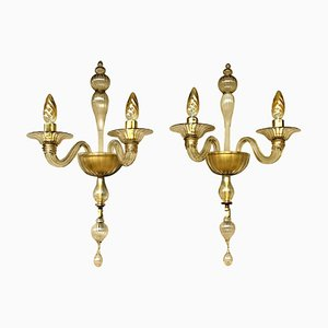 Large Wall Lights from Barovier & Toso, Italy, 1975, Set of 2