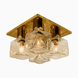 Brass & Ice Glass Cube Flush Mount by J.T. Kalmar, 1969