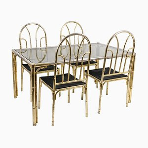Bamboo Style and Silvered Brass Dining Table & Chairs Set, 1980s, Set of 5