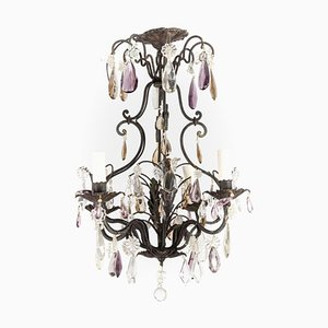 Small Chandelier in Black Lacquered Metal & Tassels from Maison Baguès