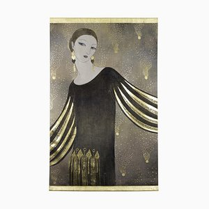 Art Deco Style Painted Woman Portrait Canvas