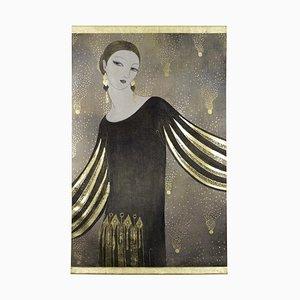 Gemalte Porträtporzellan Frau im Art Deco Stil