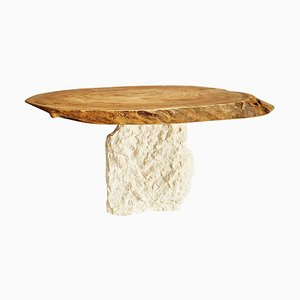 Elm and Stone Oval Coffee Table by Jean-Baptiste Van den Heede
