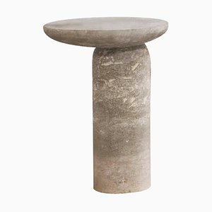 Sculpted Grey Decomplexe Stone Side Table by Frederic Saulou
