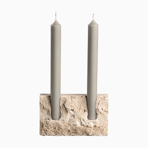 White Travertine Sculpted Candleholder by Sanna Völker