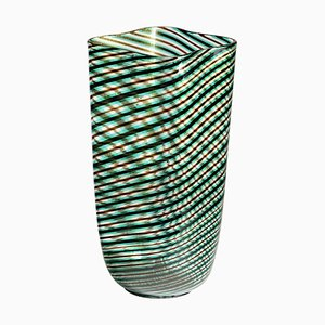 Murano Glass Mezza Filigrana Vase in Green Amethyst with Gold Leaf Attributed to Cenedese, 1980s