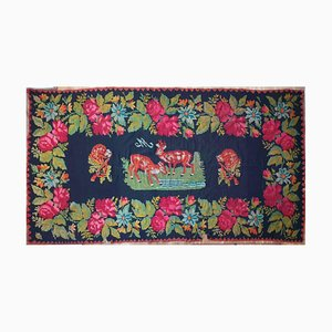 Large Romanian Handwoven Black & Pink Roses Wool Rug