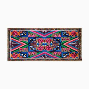 Romanian Rainbow Wool Rug with Pink Roses