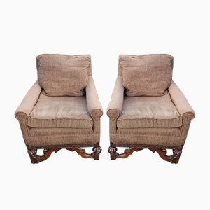 Brown Oak Framed Armchairs, 1920s, Set of 2