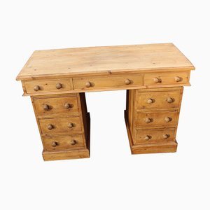 Country Pine Pedestal Desk, 1960s