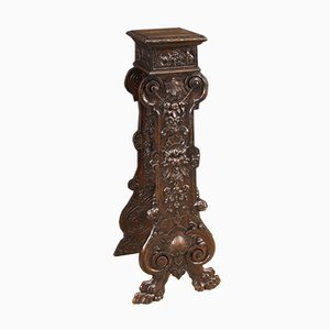 Renaissance Style Italian Carved Wood Column, 1950s