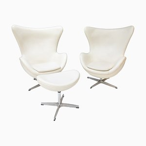 White Leather Egg Chairs & Footstool, 1978, Set of 3