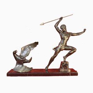 Jean De Roncourt, Krieger und Adler, 1930er, Art Deco Skulptur