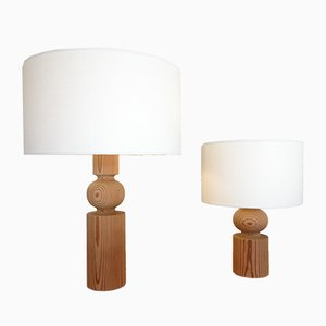 Swedish Pinus Table Lamps by Uno & Östen Kristiansson for Luxus, 1960s, Set of 2