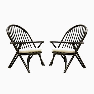 Black Lacquered Rattan Armchairs, 1970s, Set of 2
