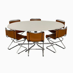 White Melamine and Chrome Biscia Dining Table by Pascal Mourgue, France, 1960s
