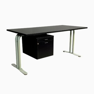 Postmodern Black Melamine and Tubular Steel Desk from Archiutti, Italy, 1980s