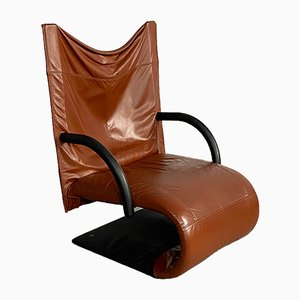 Postmodern Leather Zen Armchair by Claude Brisson for Ligne Roset, 1980s