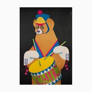 Polish R1982 CYRK Drumming Bear Poster by Gustaw Majewski, 1982
