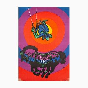 Polnisches Cyrk Zirkus Cowboy Acrobat R1976 Zirkus Poster von Bohdan Bocianowski, 1976