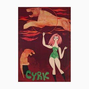 Affiche CYRK Lion Tamer Circus par Jerzy Srokowski, Pologne, 1960s