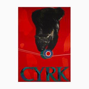 Polish CYRK Tightrope Balancing Bear Circus Poster by Maria Syska, 1960s