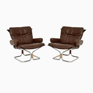 Leather & Chrome Armchairs by Ingmar Relling, 1960s, Set of 2