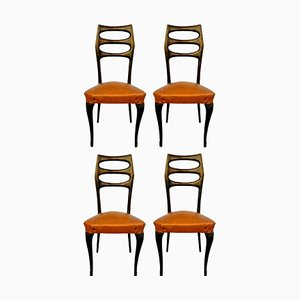 Walnut Dining Chairs by Paolo Buffa, 1950s, Set of 4