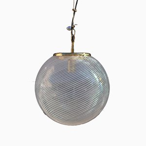 Brass and Murano Glass Ball Ceiling Lamp from VeArt, 1970s
