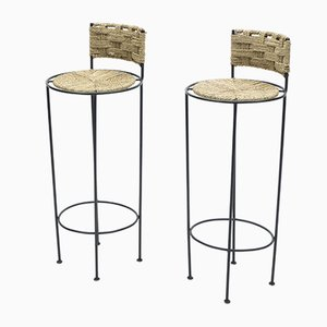 Braided Metal Rope Barstools by Adrien Audoux & Frida Minet, 1950s, Set of 2