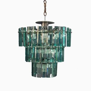 Green Crystal Round Chandelier by Ico Luisa Parisi for Arteluce, 1964
